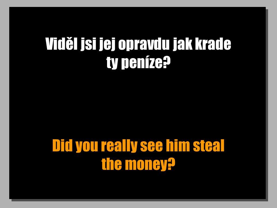 Viděl jsi jej opravdu jak krade ty peníze? Did you really see him steal the money?