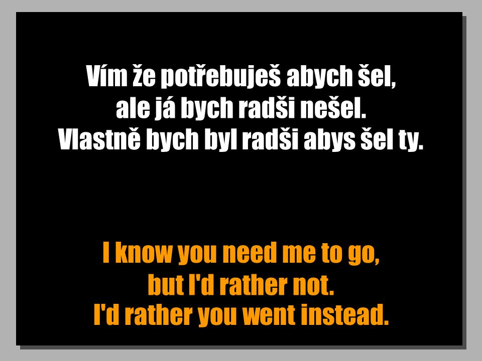 Co chceš? Doufám, že je to důležité. What do you want? This (had) better be important.