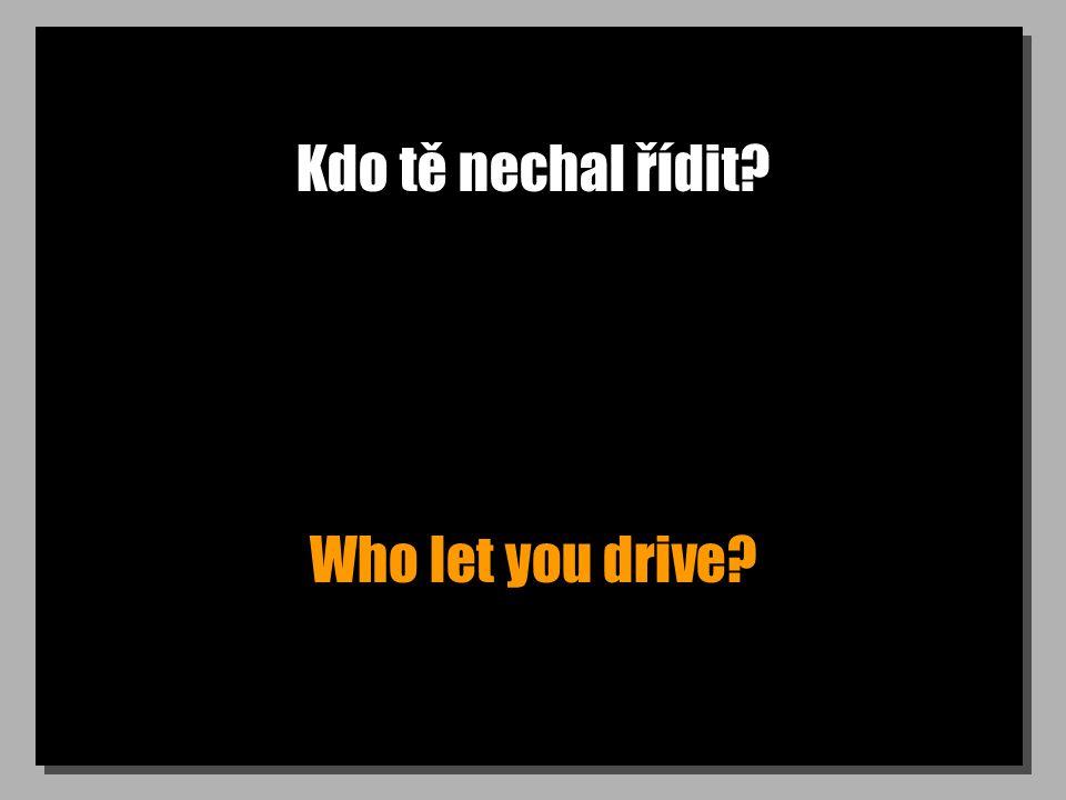 Kdo tě nechal řídit? Who let you drive?