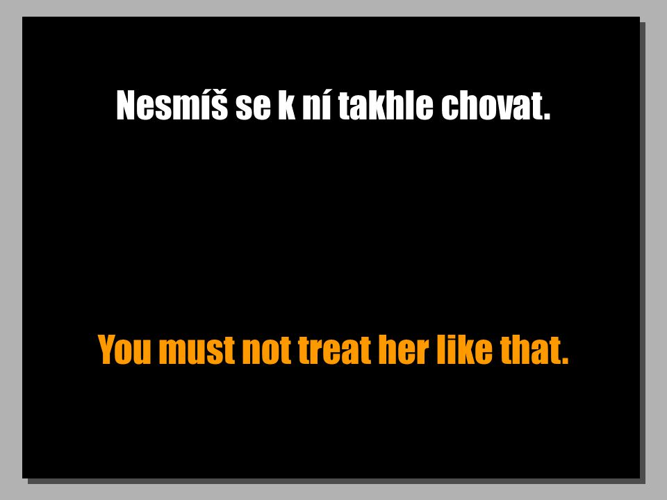 Nesmíš se k ní takhle chovat. You must not treat her like that.