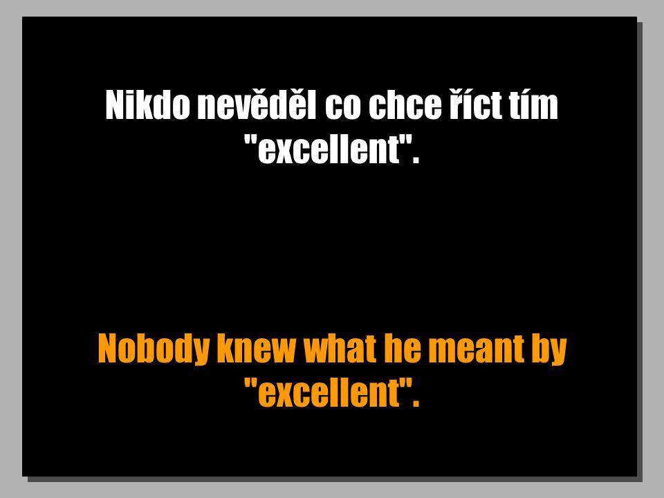 Nikdo nevěděl co chce říct tím excellent . Nobody knew what he meant by excellent .