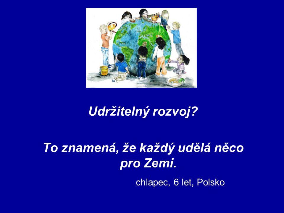 Udržitelný rozvoj? To znamená, že každý udělá něco pro Zemi. chlapec, 6 let, Polsko