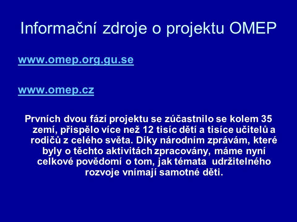 Informační zdroje o projektu OMEP www.omep.org.gu.se www.omep.cz Prvních dvou fází projektu se zúčastnilo se kolem 35 zemí, přispělo více než 12 tisíc dětí a tisíce učitelů a rodičů z celého světa.