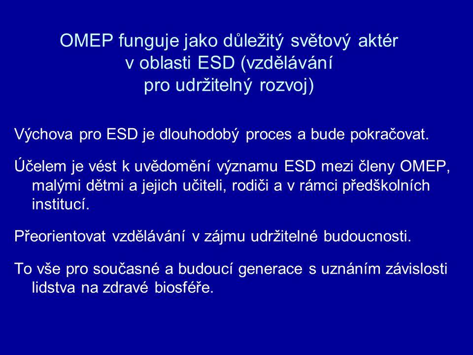 OMEP funguje jako důležitý světový aktér v oblasti ESD (vzdělávání pro udržitelný rozvoj) Výchova pro ESD je dlouhodobý proces a bude pokračovat. Účel
