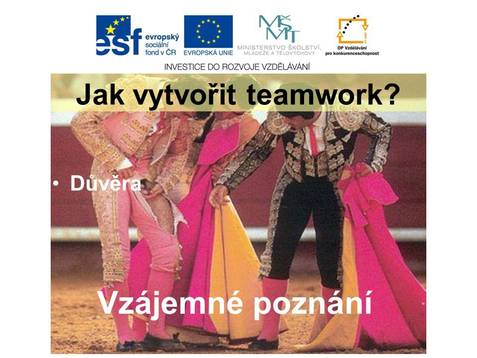Důvěra Jak vytvořit teamwork Vzájemné poznání