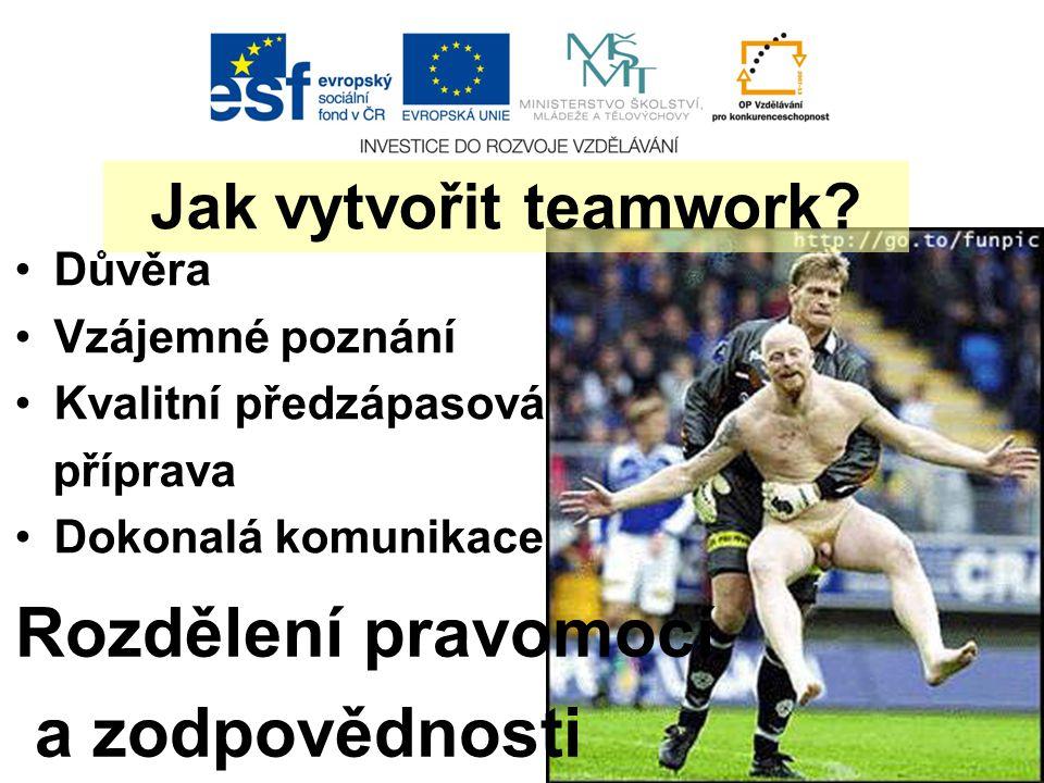 Důvěra Vzájemné poznání Kvalitní předzápasová příprava Dokonalá komunikace Rozdělení pravomocí a zodpovědnosti Jak vytvořit teamwork?