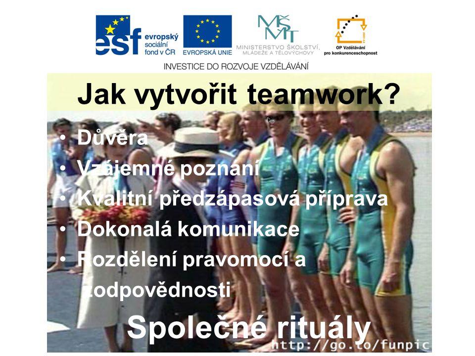 Důvěra Vzájemné poznání Kvalitní předzápasová příprava Dokonalá komunikace Rozdělení pravomocí a zodpovědnosti Jak vytvořit teamwork.
