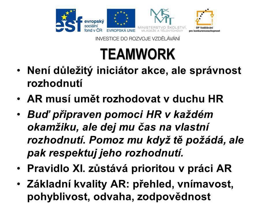 Důvěra Vzájemné poznání Jak vytvořit teamwork? Kvalitní předzápasová příprava
