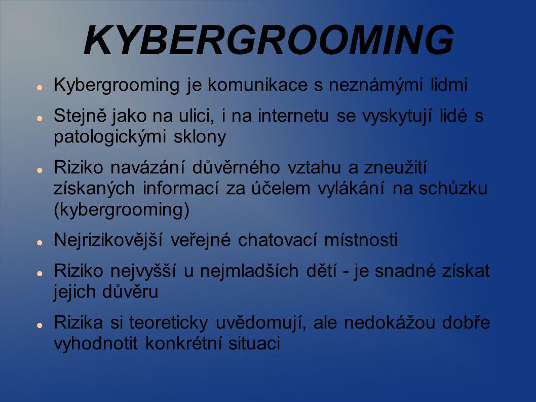 KYBERGROOMING Kybergrooming je komunikace s neznámými lidmi Stejně jako na ulici, i na internetu se vyskytují lidé s patologickými sklony Riziko naváz