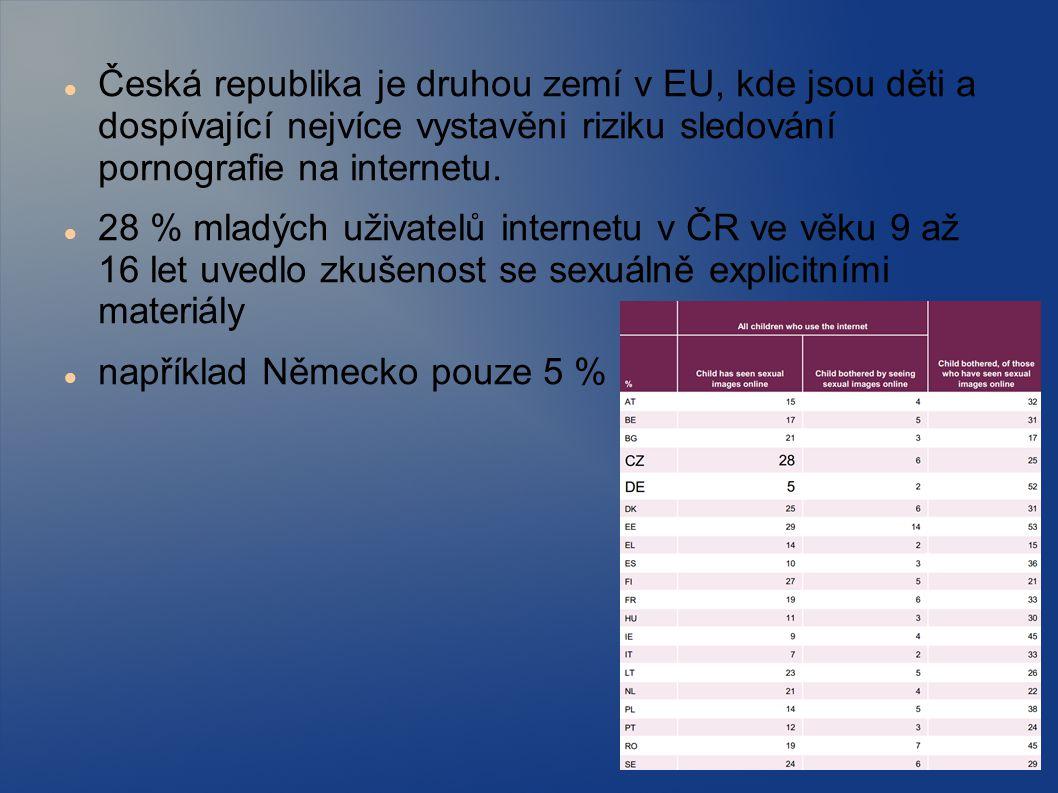 Česká republika je druhou zemí v EU, kde jsou děti a dospívající nejvíce vystavěni riziku sledování pornografie na internetu. 28 % mladých uživatelů i
