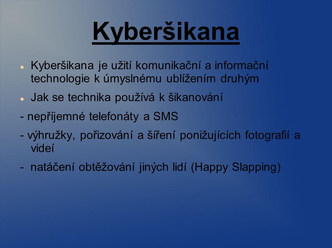 Kyberšikana Kyberšikana je užití komunikační a informační technologie k úmyslnému ublížením druhým Jak se technika používá k šikanování - nepříjemné telefonáty a SMS - výhružky, pořizování a šíření ponižujících fotografií a videí - natáčení obtěžování jiných lidí (Happy Slapping)