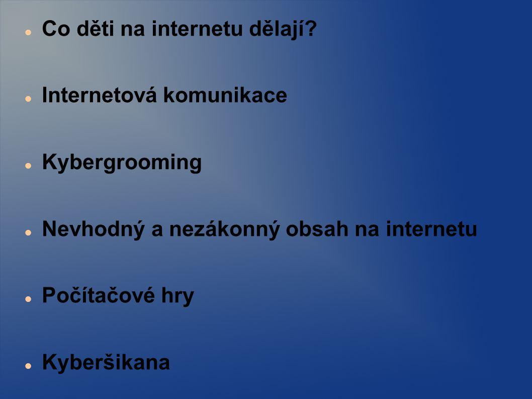 Co děti na internetu dělají? Internetová komunikace Kybergrooming Nevhodný a nezákonný obsah na internetu Počítačové hry Kyberšikana