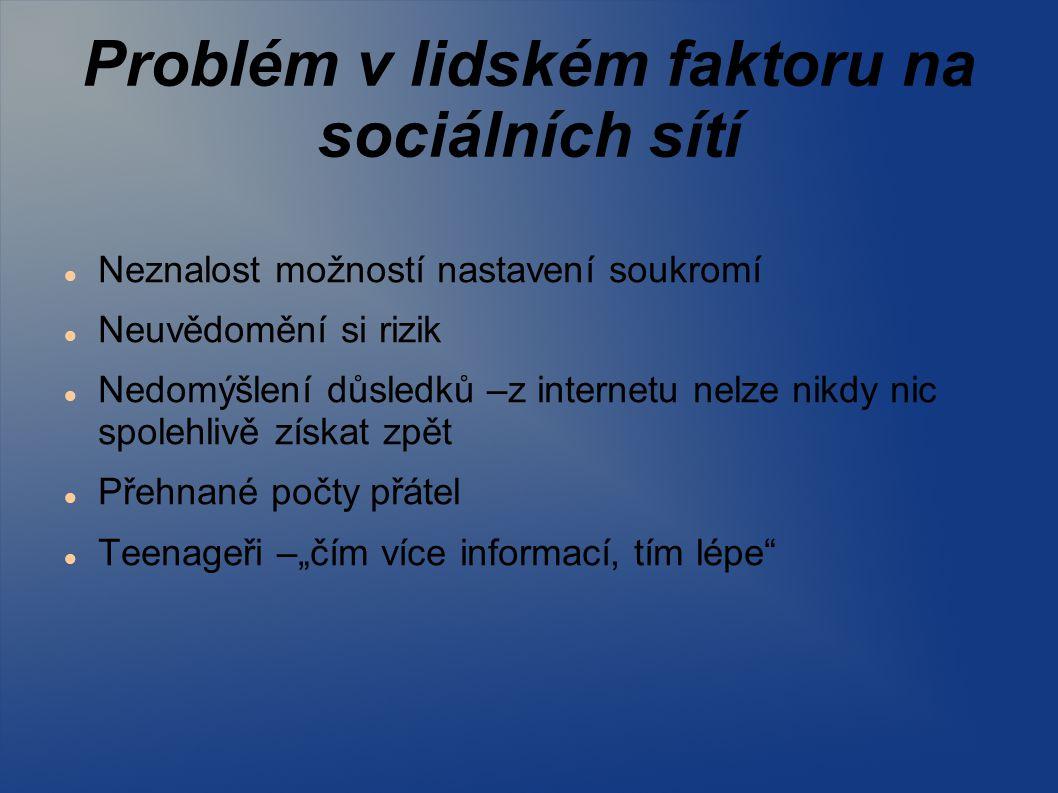 """Problém v lidském faktoru na sociálních sítí Neznalost možností nastavení soukromí Neuvědomění si rizik Nedomýšlení důsledků –z internetu nelze nikdy nic spolehlivě získat zpět Přehnané počty přátel Teenageři –""""čím více informací, tím lépe"""