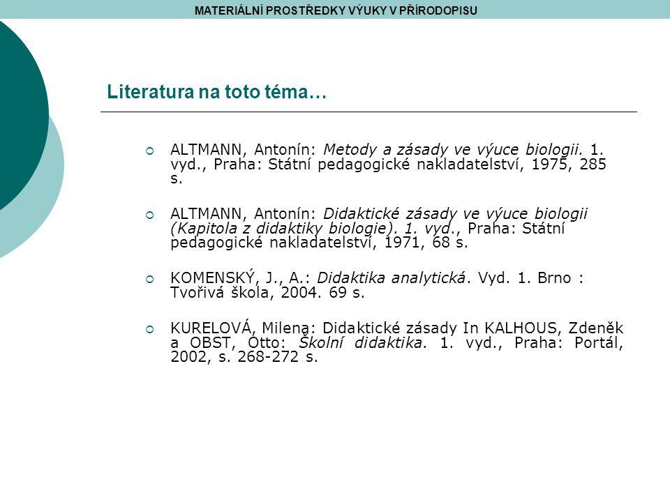 Literatura na toto téma…  ALTMANN, Antonín: Metody a zásady ve výuce biologii.