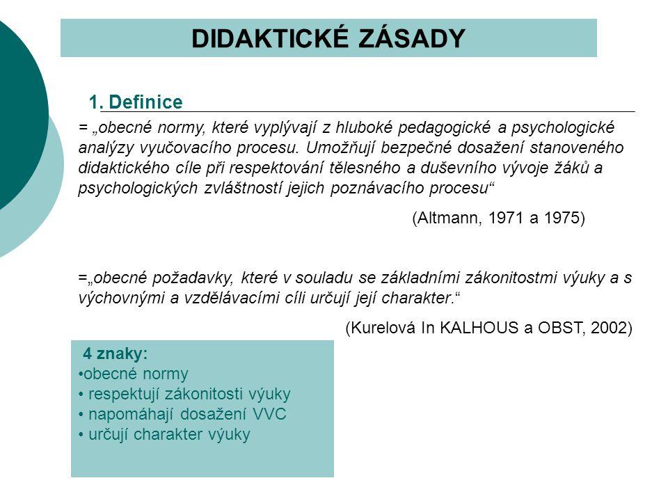 """DIDAKTICKÉ ZÁSADY = """"obecné normy, které vyplývají z hluboké pedagogické a psychologické analýzy vyučovacího procesu."""