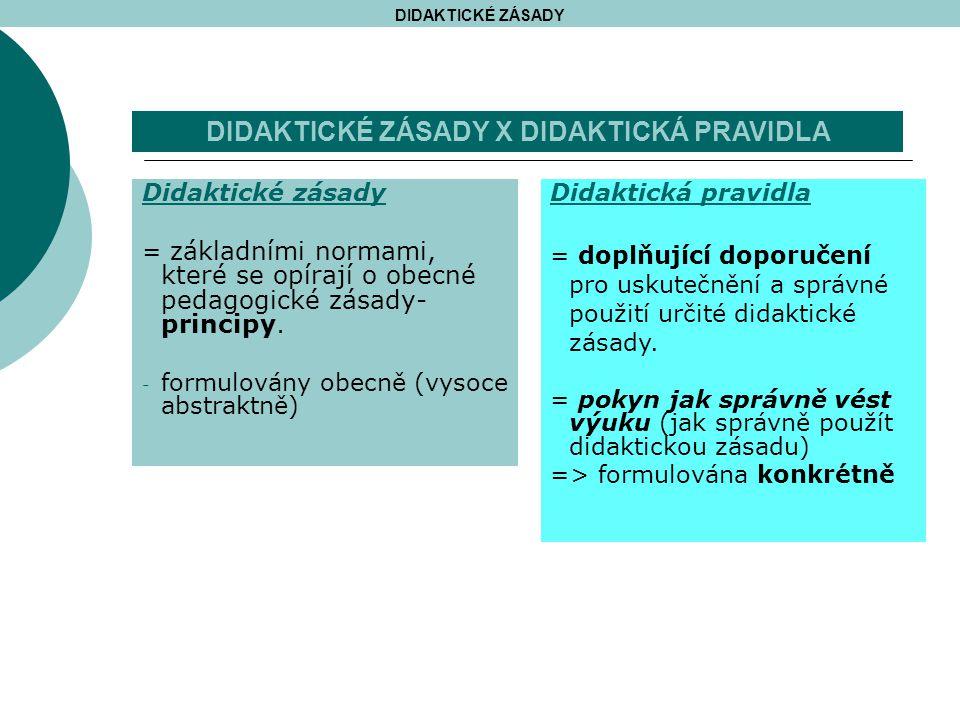 Didaktické zásady = základními normami, které se opírají o obecné pedagogické zásady- principy.