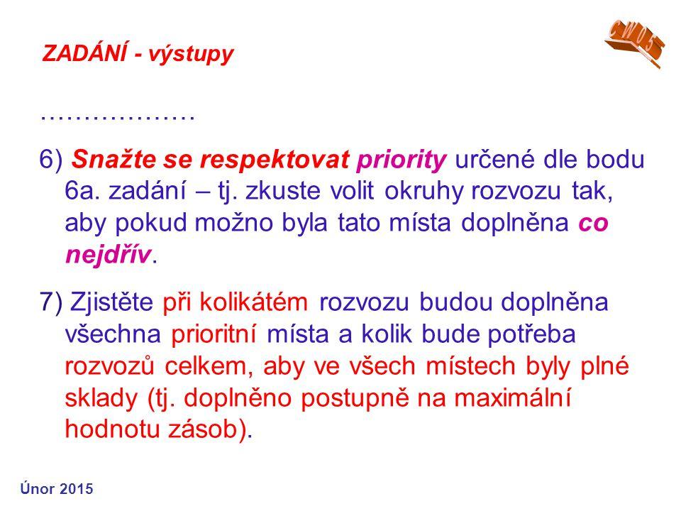 ZADÁNÍ - výstupy ……………… 6) Snažte se respektovat priority určené dle bodu 6a.