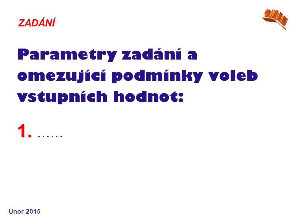 1. Parametry zadání a omezující podmínky voleb vstupních hodnot: 1. …… ZADÁNÍ Únor 2015