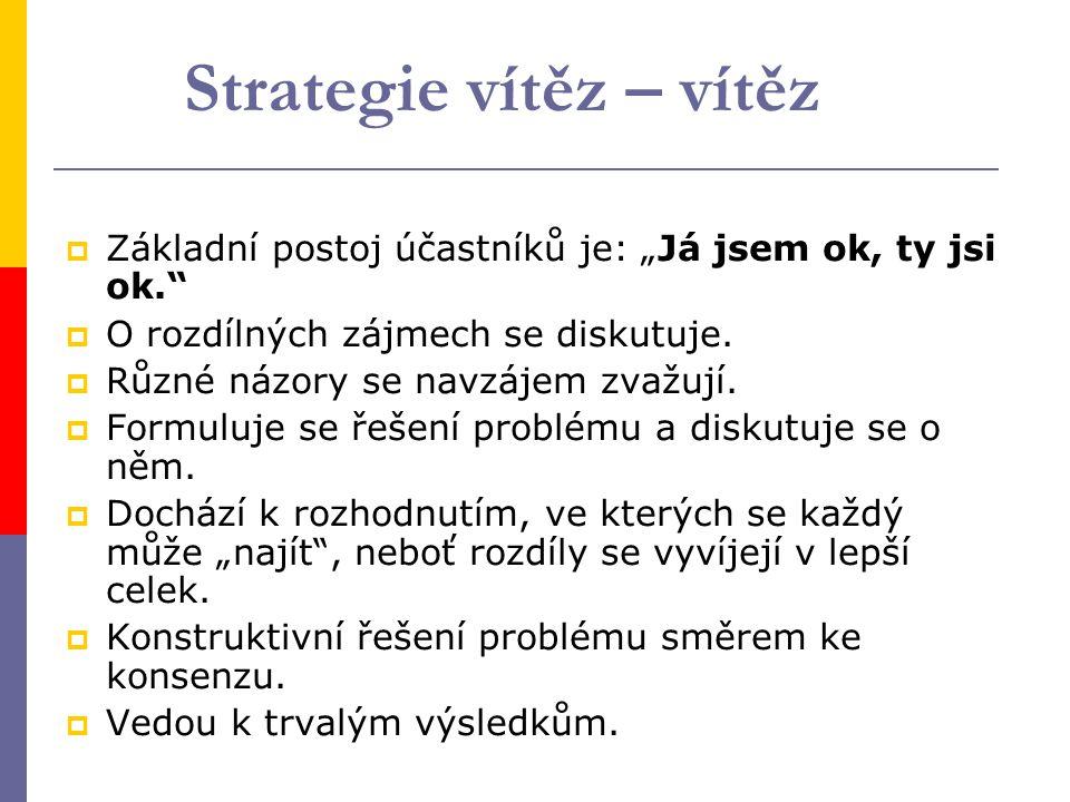 """Strategie vítěz – vítěz  Základní postoj účastníků je: """"Já jsem ok, ty jsi ok.  O rozdílných zájmech se diskutuje."""