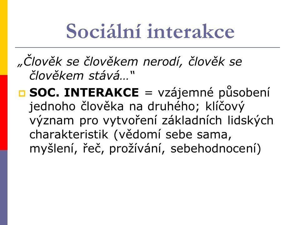 """Sociální interakce """"Člověk se člověkem nerodí, člověk se člověkem stává…  SOC."""