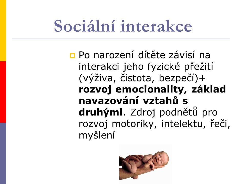 Sociální interakce  Po narození dítěte závisí na interakci jeho fyzické přežití (výživa, čistota, bezpečí)+ rozvoj emocionality, základ navazování vztahů s druhými.