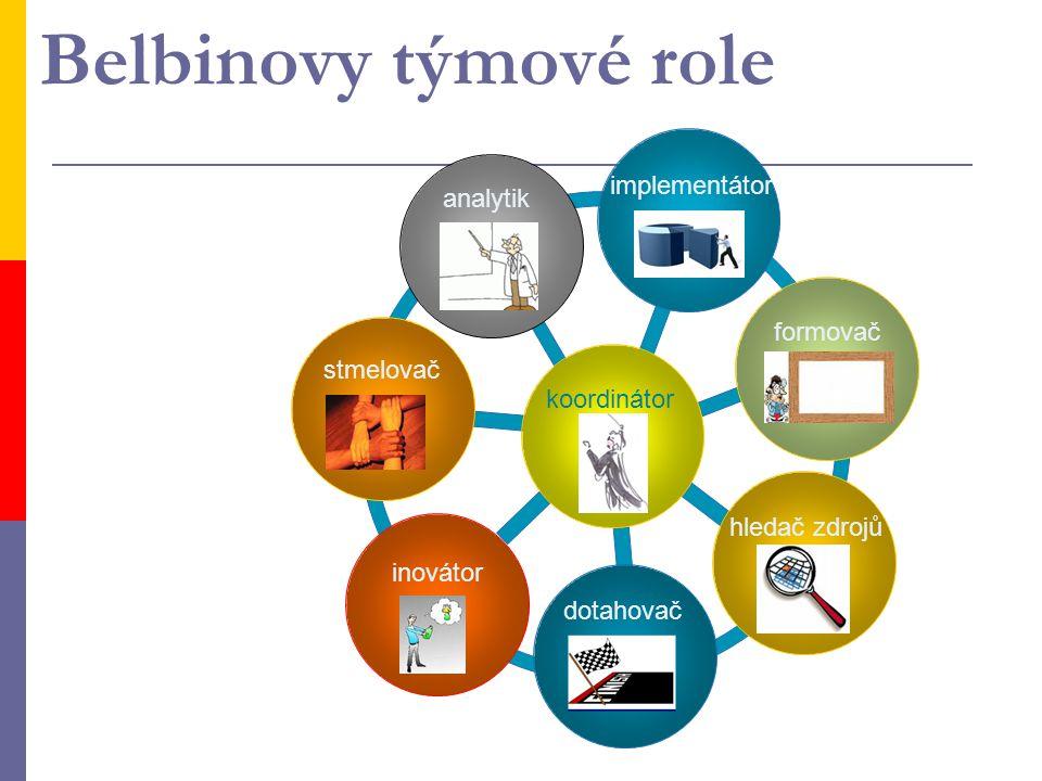 Belbinovy týmové role koordinátor analytik implementátor formovač hledač zdrojů inovátor stmelovač dotahovač