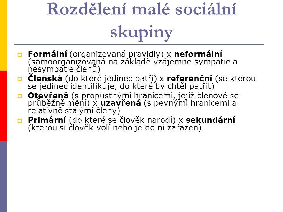 Rozdělení malé sociální skupiny  Formální (organizovaná pravidly) x neformální (samoorganizovaná na základě vzájemné sympatie a nesympatie členů)  Členská (do které jedinec patří) x referenční (se kterou se jedinec identifikuje, do které by chtěl patřit)  Otevřená (s propustnými hranicemi, jejíž členové se průběžně mění) x uzavřená (s pevnými hranicemi a relativně stálými členy)  Primární (do které se člověk narodí) x sekundární (kterou si člověk volí nebo je do ní zařazen)