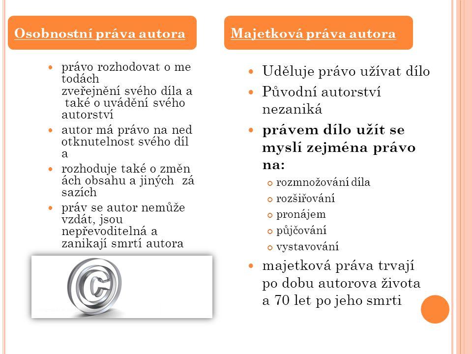 AUTORSKÝ ZÁKON Možnost kopírování díla pouze pro osobní potřebu, bez souhlasu autora, nebo majitele autorských práv.