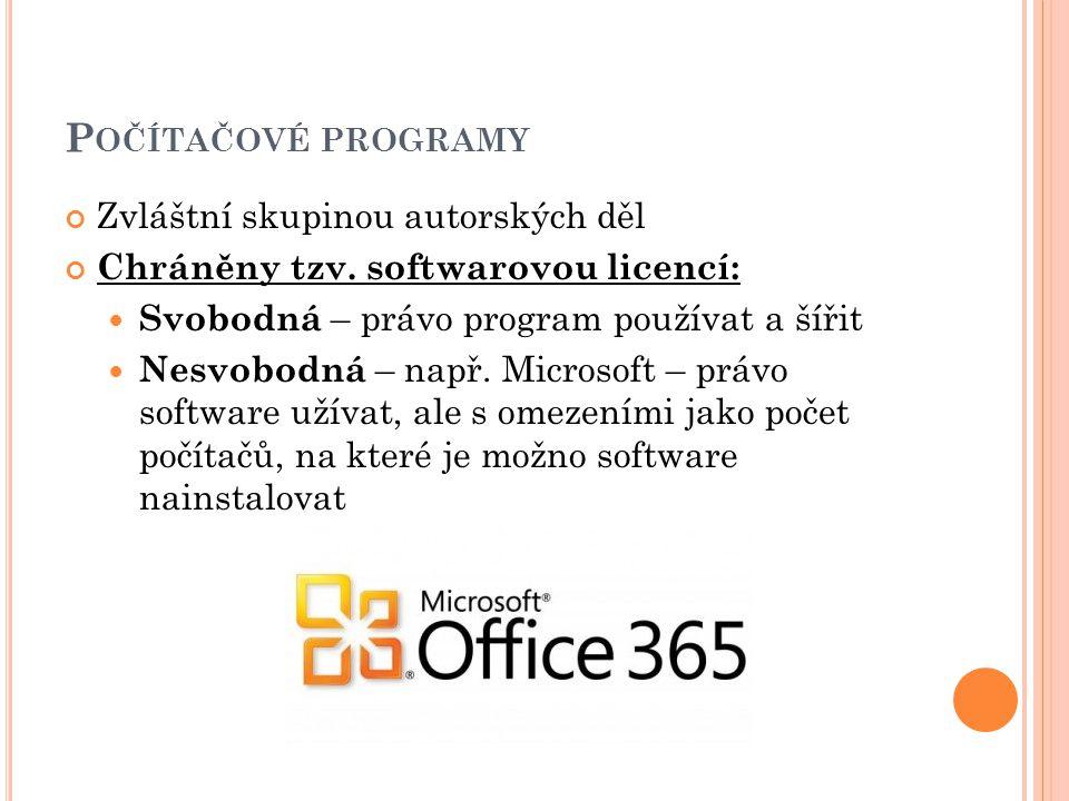 Porušování práv k programům = softwarové pirátství Ilegální užití software bez licenční smlouvy Ilegální duplikování a padělání programů chráněných copyrightem a jejich následný prodej, kdy jsou vydávány za legální kopie Užívání většího počtu licencí než který byl zakoupen Padělání a výroba nelegálních kopií