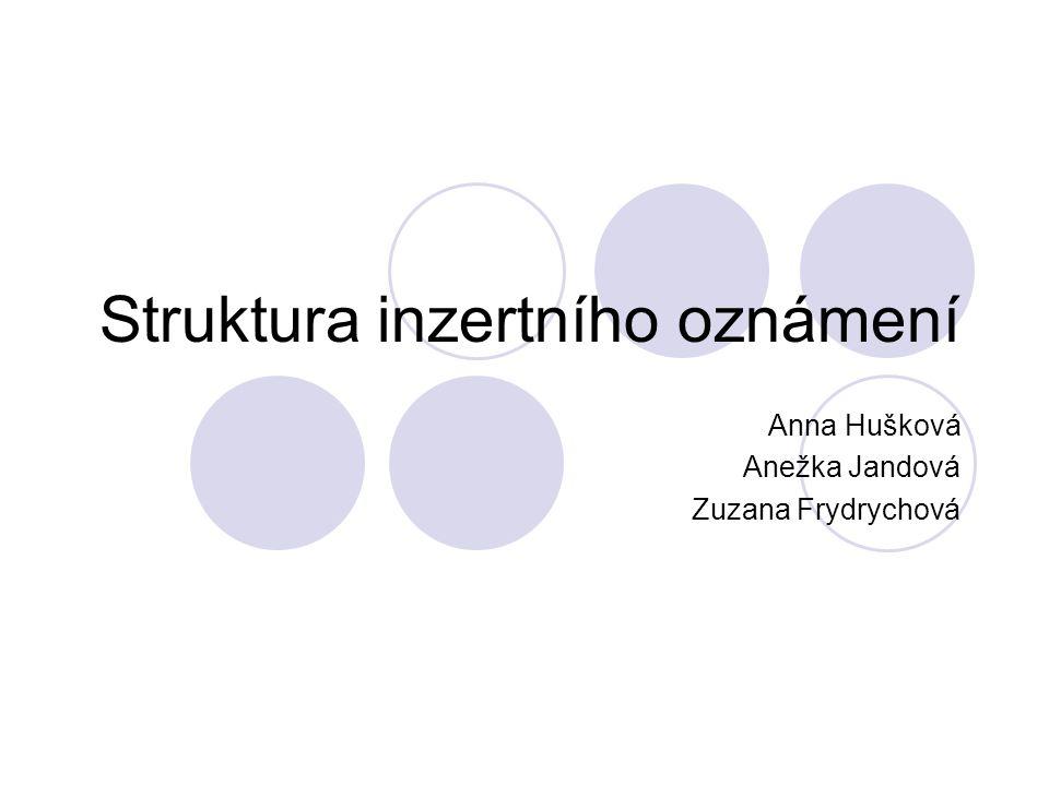 Struktura inzertního oznámení Anna Hušková Anežka Jandová Zuzana Frydrychová