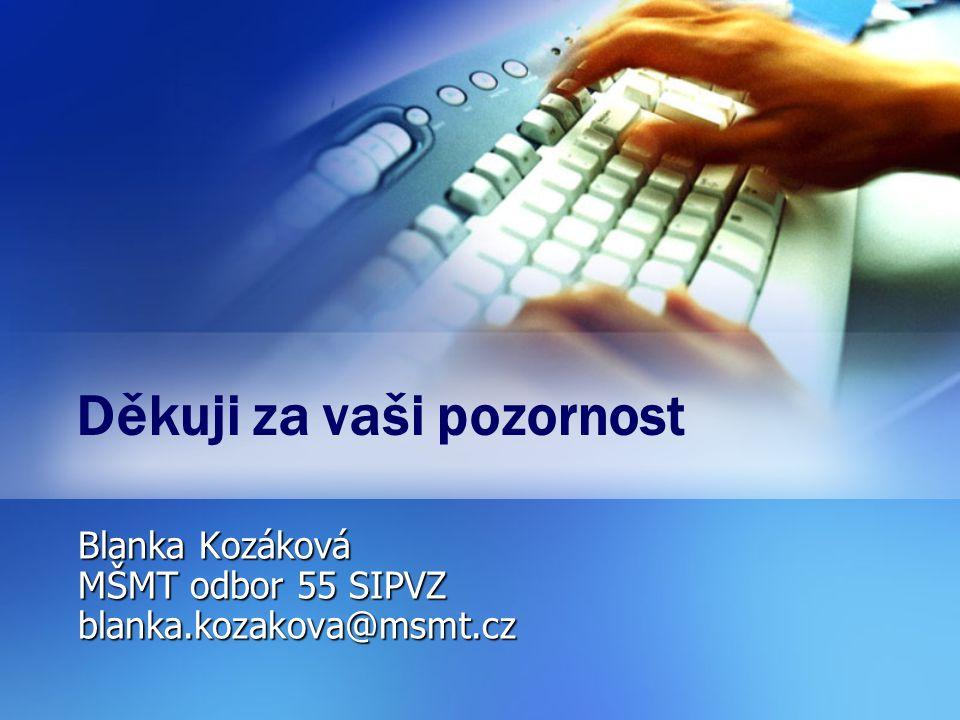 Děkuji za vaši pozornost Blanka Kozáková MŠMT odbor 55 SIPVZ blanka.kozakova@msmt.cz