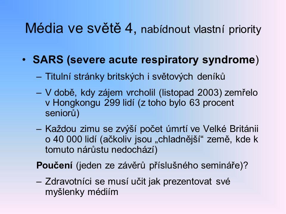 Média ve světě 4, nabídnout vlastní priority SARS (severe acute respiratory syndrome) –Titulní stránky britských i světových deníků –V době, kdy zájem