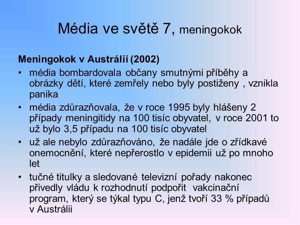 Média ve světě 7, meningokok Meningokok v Austrálii (2002) média bombardovala občany smutnými příběhy a obrázky dětí, které zemřely nebo byly postižen