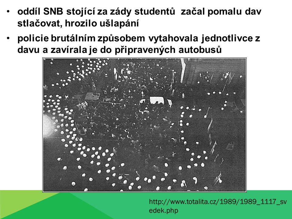 oddíl SNB stojící za zády studentů začal pomalu dav stlačovat, hrozilo ušlapání policie brutálním způsobem vytahovala jednotlivce z davu a zavírala je do připravených autobusů