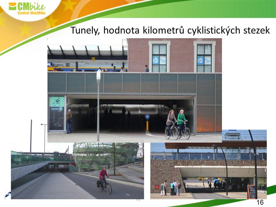 16 Tunely, hodnota kilometrů cyklistických stezek