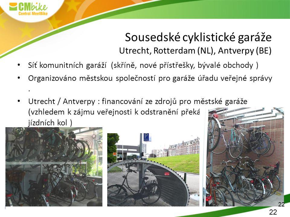 22 Sousedské cyklistické garáže Utrecht, Rotterdam (NL), Antverpy (BE) Síť komunitních garáží (skříně, nové přístřešky, bývalé obchody ) Organizováno městskou společností pro garáže úřadu veřejné správy.