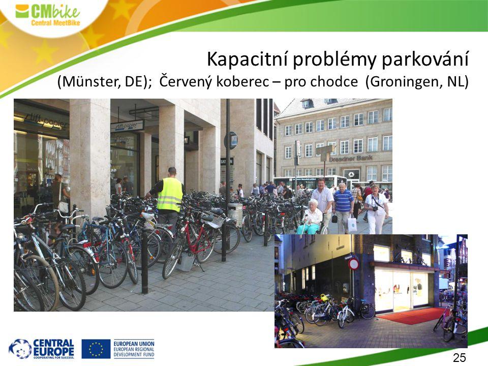 25 Kapacitní problémy parkování (Münster, DE); Červený koberec – pro chodce (Groningen, NL)