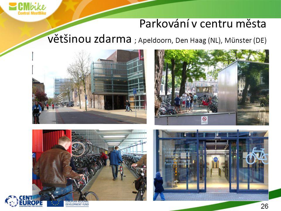 26 Parkování v centru města většinou zdarma ; Apeldoorn, Den Haag (NL), Münster (DE)