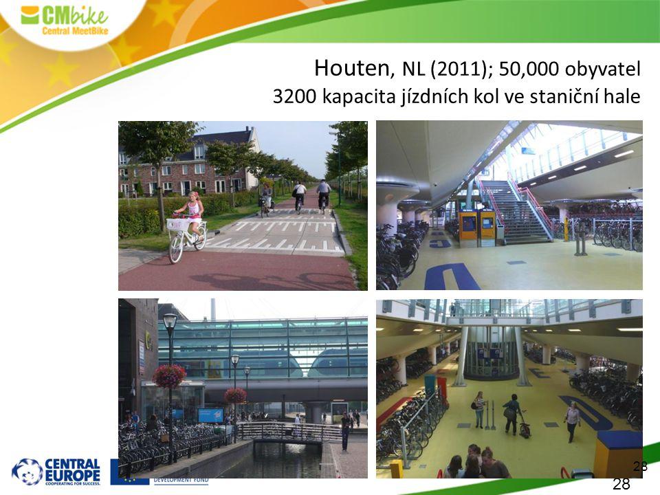 28 Houten, NL (2011); 50,000 obyvatel 3200 kapacita jízdních kol ve staniční hale 28