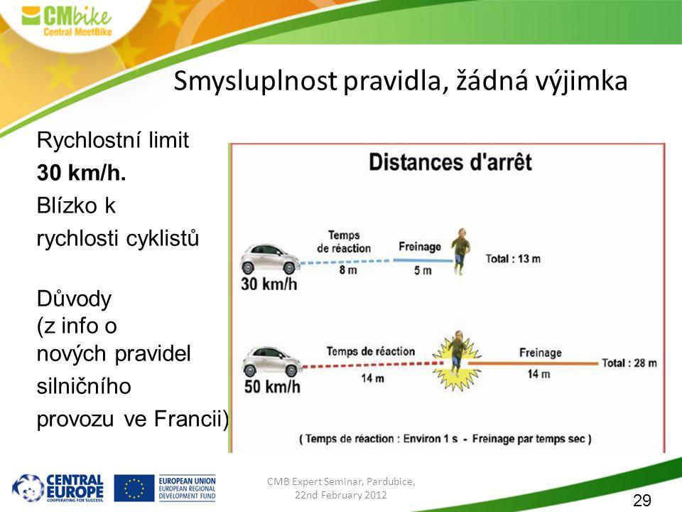 29 CMB Expert Seminar, Pardubice, 22nd February 2012 Smysluplnost pravidla, žádná výjimka Rychlostní limit 30 km/h.