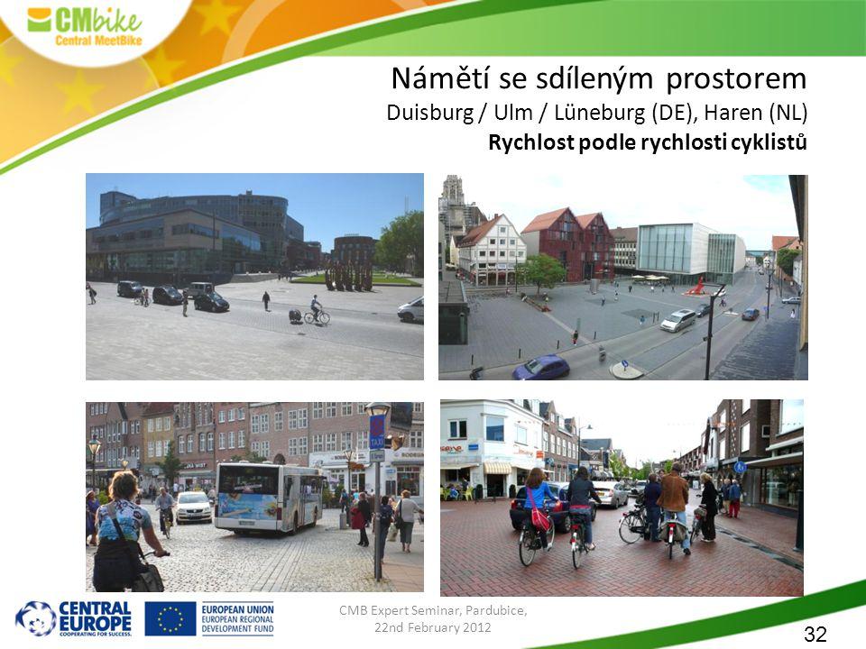 32 CMB Expert Seminar, Pardubice, 22nd February 2012 Námětí se sdíleným prostorem Duisburg / Ulm / Lüneburg (DE), Haren (NL) Rychlost podle rychlosti cyklistů