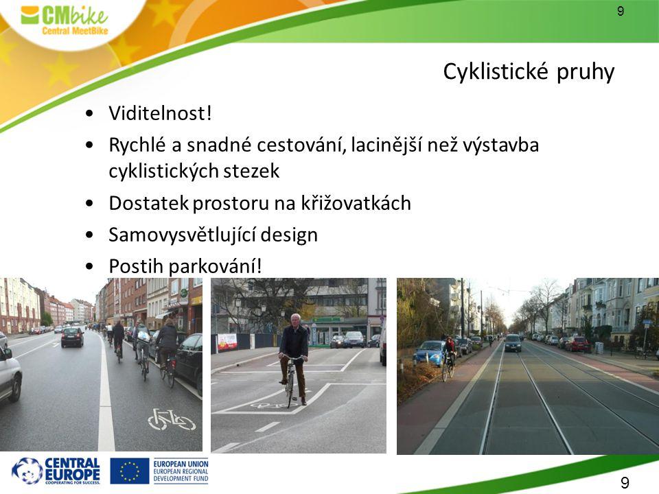 9 Cyklistické pruhy Viditelnost.