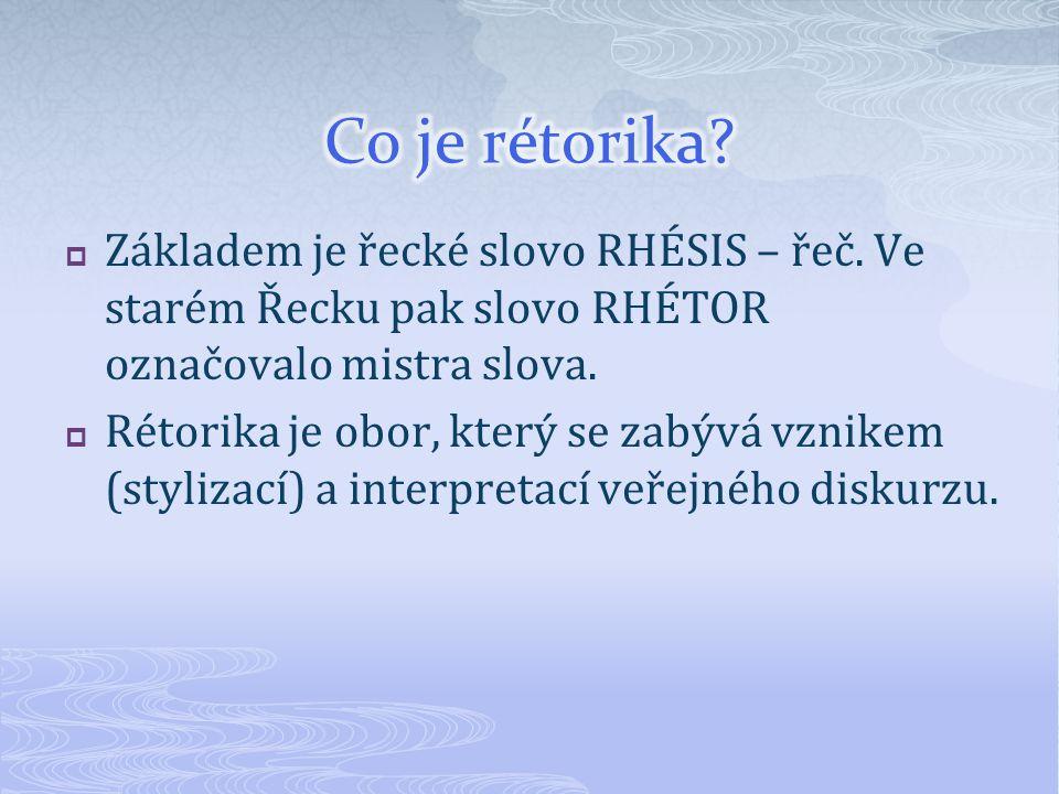  Základem je řecké slovo RHÉSIS – řeč.Ve starém Řecku pak slovo RHÉTOR označovalo mistra slova.