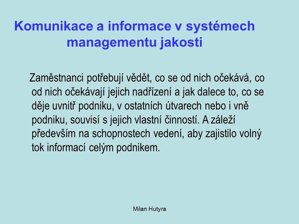 Milan Hutyra Komunikace a informace v systémech managementu jakosti Zaměstnanci potřebují vědět, co se od nich očekává, co od nich očekávají jejich nadřízení a jak dalece to, co se děje uvnitř podniku, v ostatních útvarech nebo i vně podniku, souvisí s jejich vlastní činností.