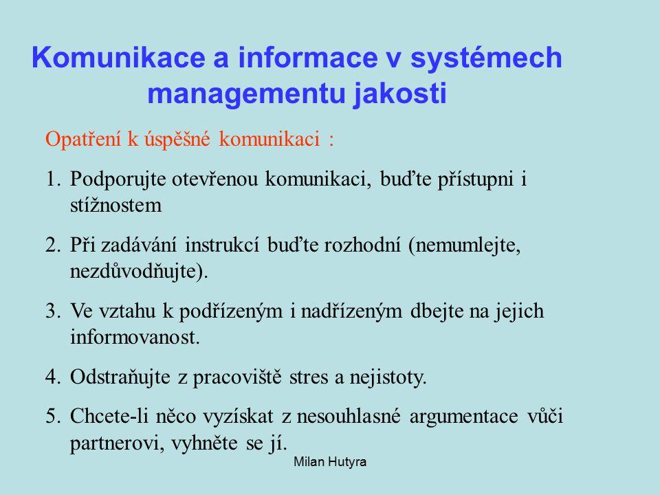 Milan Hutyra Komunikace a informace v systémech managementu jakosti Opatření k úspěšné komunikaci : 1.Podporujte otevřenou komunikaci, buďte přístupni i stížnostem 2.Při zadávání instrukcí buďte rozhodní (nemumlejte, nezdůvodňujte).