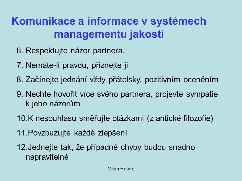 Milan Hutyra Komunikace a informace v systémech managementu jakosti 6.Respektujte názor partnera.