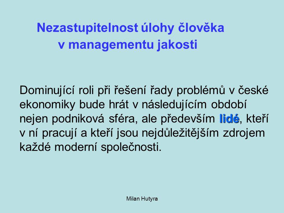 Milan Hutyra Nezastupitelnost úlohy člověka v managementu jakosti lidé Dominující roli při řešení řady problémů v české ekonomiky bude hrát v následujícím období nejen podniková sféra, ale především lidé, kteří v ní pracují a kteří jsou nejdůležitějším zdrojem každé moderní společnosti.