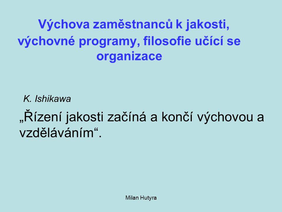 Milan Hutyra Výchova zaměstnanců k jakosti, výchovné programy, filosofie učící se organizace K.