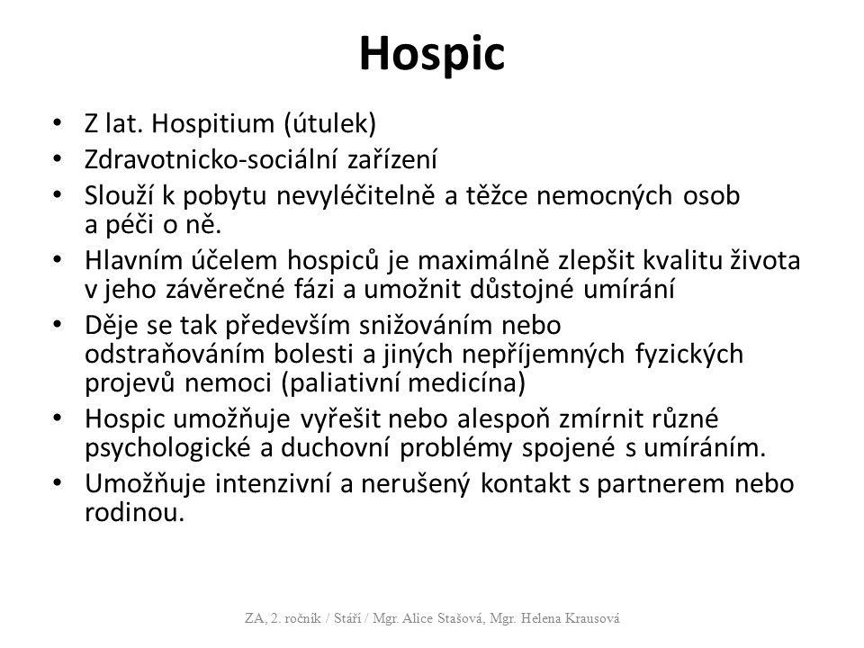 Hospic Z lat. Hospitium (útulek) Zdravotnicko-sociální zařízení Slouží k pobytu nevyléčitelně a těžce nemocných osob a péči o ně. Hlavním účelem hospi