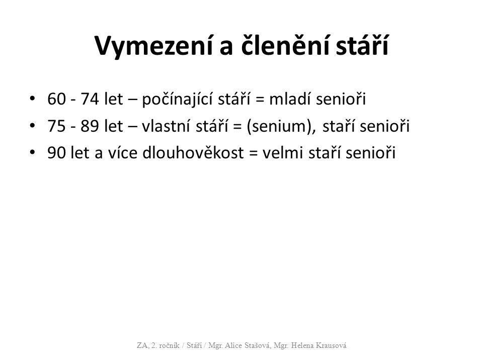 Vymezení a členění stáří 60 - 74 let – počínající stáří = mladí senioři 75 - 89 let – vlastní stáří = (senium), staří senioři 90 let a více dlouhověko
